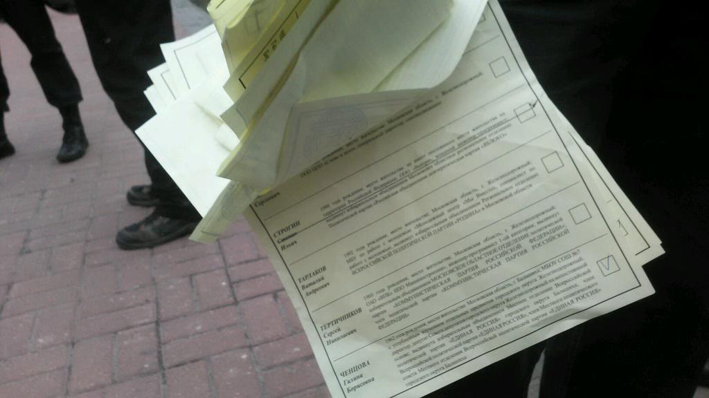 Часть бюллетеней, вброс которых был предотвращен на 576 УИК (фото Анастасии Зотовой)