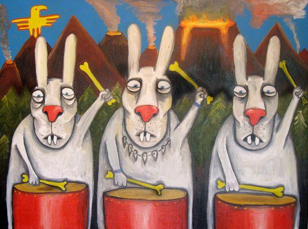 Картина кисти - или иной части тела -, Василия Ложкина «Зайцы Апокалипсиса»